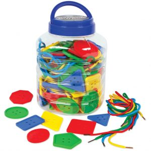 Colossal Buttons, 8 Shapes, 4 Colours, 16 Laces, Jar (120 approx)