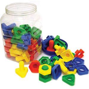 Nuts & Bolts, 4 Shapes (set of 2), 4 Colours, jar (64 pieces)