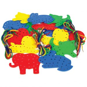 Animal Lacing Shapes, 4 each of 4 Designs, with 16 Laces