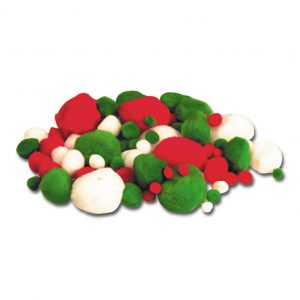 Red Green White Poms