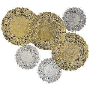 Gold & Silver Doilies - Pack of 40