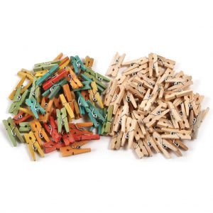 Mini Clothes Pegs, Wood, Natural & Assorted Colours - Pack of 200