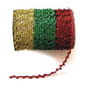 Twisted Metallic Ribbon Red/Green/Gold 3 x 3m